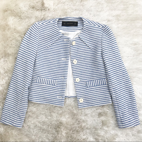 cca4d83f9a4 ZARA Cropped Striped Nautical Blazer. M 5aaf4f9c8af1c50dc0e218ad